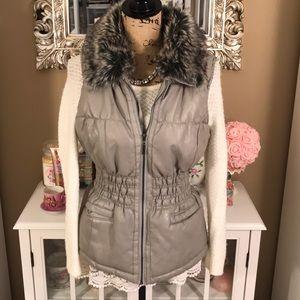 Dollhouse Outerwear Taupe Vest with Fur Neckline